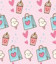 Pink kawaii background with gift bag and cotton candy