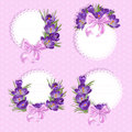 Pink labels with purple crocus flowers for your Royalty Free Stock Image