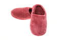 Pink ladies slippers pair of studio shot with a white background Stock Photos