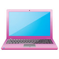 Pink laptop on a white background. Royalty Free Stock Photo