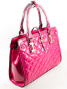 Pink leathe handbag mad with pu hong kong elite ladies chic crosspinkhandbag material real leather bag with for smartphone ipad Stock Photography