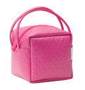 Pink leather cosmetic bag Stock Photos