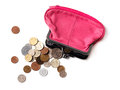 Pink leather purse and coins several different Royalty Free Stock Image