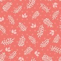 Pink leaves and sprigs on coral dots seamless vector texture background