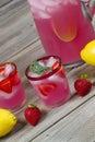 Pink Lemonade with Fruit Royalty Free Stock Photo