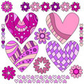 Pink and lilac heart collection Stock Images