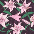 Pink lilies seamless pattern floral elegant background Stock Photos