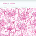 Pink lillies lineart horizontal torn seamless vector pattern background with hand drawn elements Stock Images
