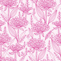 Pink lillies lineart seamless pattern background vector with hand drawn elements Royalty Free Stock Images