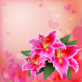 Pink lily on a soft background. Royalty Free Stock Photo