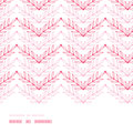 Pink lineart leaves chevron horizontal frame vector seamless pattern background with hand drawn elements Stock Image