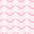 Pink lineart leaves chevron seamless pattern vector background with hand drawn elements Stock Photo