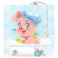 Pink little piggy taking a bath with foam Stock Photos