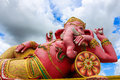 Pink lord ganesha in samarn temple chachoengsao thailand beautiful Royalty Free Stock Photo