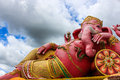 Pink lord ganesha in samarn temple chachoengsao thailand beautiful Royalty Free Stock Photography