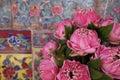Pink lotus and beautiful wall of wat arun in bangkok thailand Royalty Free Stock Image