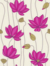 Pink lotus - seamless pattern Stock Photos