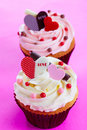Pink love cupcake a Stock Photo