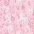 Pink love doodle seamless pattern illustration of Royalty Free Stock Photos