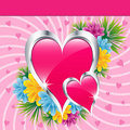 Pink love hearts and flowers Royalty Free Stock Photo