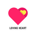 Pink loving heart symbol like postcard