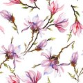 Pink magnolia flowers on a twig on white background. Seamless pattern. Watercolor painting. Hand drawn. Royalty Free Stock Photo