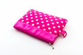 Pink makeup bag on white background accessory Stock Photos