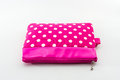 Pink makeup bag on white background accessory Stock Photo