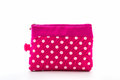Pink makeup bag on white background accessory Royalty Free Stock Image