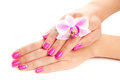 Pink manicure with orchid flower isolated female hands Royalty Free Stock Images