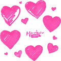 Pink marker painted isolated vector hearts set Royalty Free Stock Photos