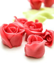 Pink marzipan roses towards white with green petals in the background Royalty Free Stock Photography