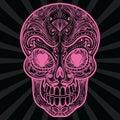 Pink mexican sugar skull tatoo