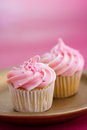 Pink mini cupcakes Stock Photography