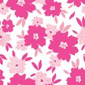 Bold hot pink stylized halftone flowers and leaves scattered on white background vector seamless pattern