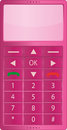 Pink mobile isolated simple telephone without shadow Royalty Free Stock Photos
