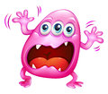 A pink monster shouting because of frustration illustration on white background Royalty Free Stock Images