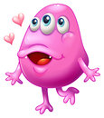 A pink monster with two hearts illustration of on white background Royalty Free Stock Image