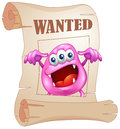 A pink monster in a wanted poster illustration of on white background Stock Image