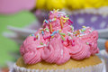 Pink muffin sweet colorful cream Royalty Free Stock Photo