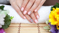Pink nail art manicure. Beauty hands. Stylish Nails, Nailpolish Royalty Free Stock Photo