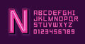 Pink Neon Light Alphabet Font Royalty Free Stock Photo