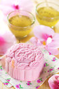 Pink noble delight mooncake snowy skin mooncakes traditional chinese mid autumn festival food the chinese words on the mooncakes Royalty Free Stock Photo