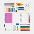 Pink notebook and school or office tools on white background Royalty Free Stock Photo