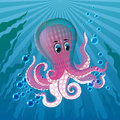 Pink octopus in the sea deep blue with bubbles Stock Image