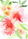 Pink and orange floral illustration hand drawn watercolor Stock Photo