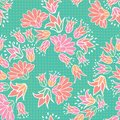 Pink Orange Flowers Seamless Vector Repeat Pattern Background