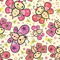 Pink and orange hand drawn Kawaii style dancing butterflies design with random crowns and circles. Seamless vector