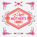 Pink and orange line happy mother s day message hexagon emblem greeting card Stock Photo