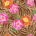 Pink and orange roses background flowers over animal seamless Stock Photos